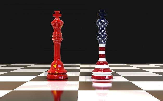 Due re degli scacchi sulla scacchiera bandiera degli stati uniti e della cina