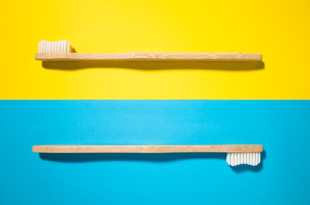 Due spazzolini da denti in bambù