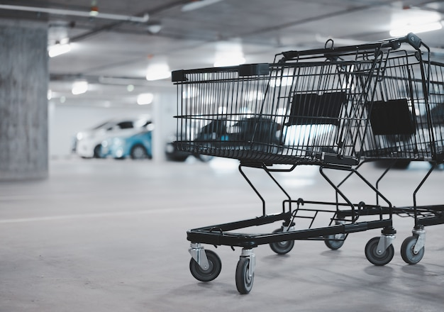 Due svuoti il carrello di acquisto e l'automobile vaga al parcheggio, tono di colore dell'inverno