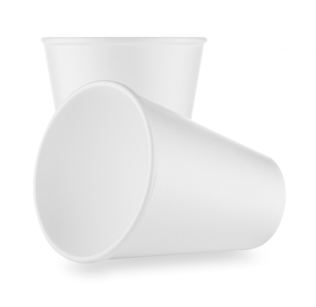 Due tazze monouso bianche