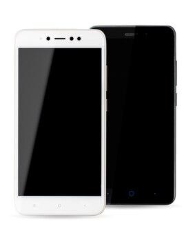 Due telefoni cellulari sono bianchi e neri su bianco, primo piano. sono gli smartphone