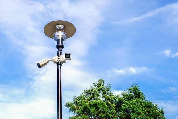 Due videocamere di sorveglianza bianche sulla posta della lampada del metallo su cielo blu in parco pubblico.