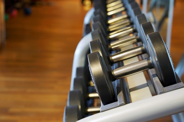 Dumbbell close-up in palestra