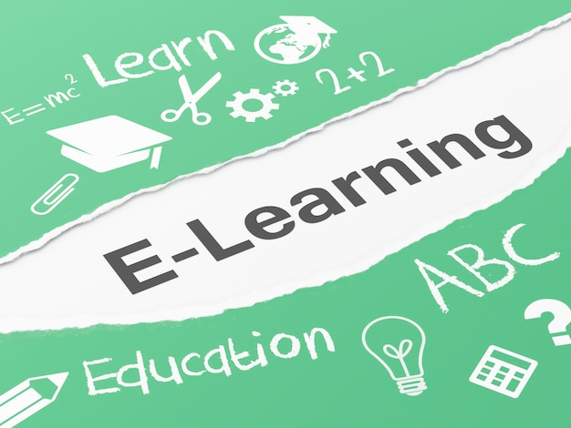 E-learning di carta strappato 3d