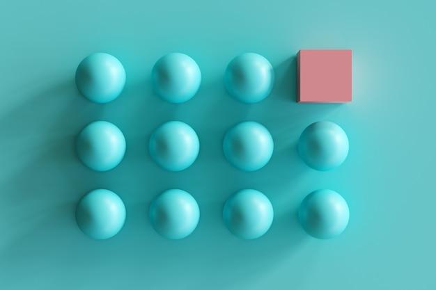 Eccezionale scatola rosa tra sfere blu su sfondo blu. idea minima del contept