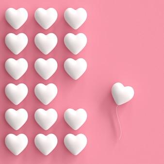 Eccezionali cuori bianchi su sfondo rosa. idea di concetto di san valentino minimale.