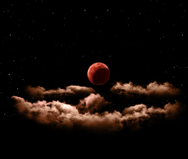 Eclissi lunare o luna piena di sangue con nuvole