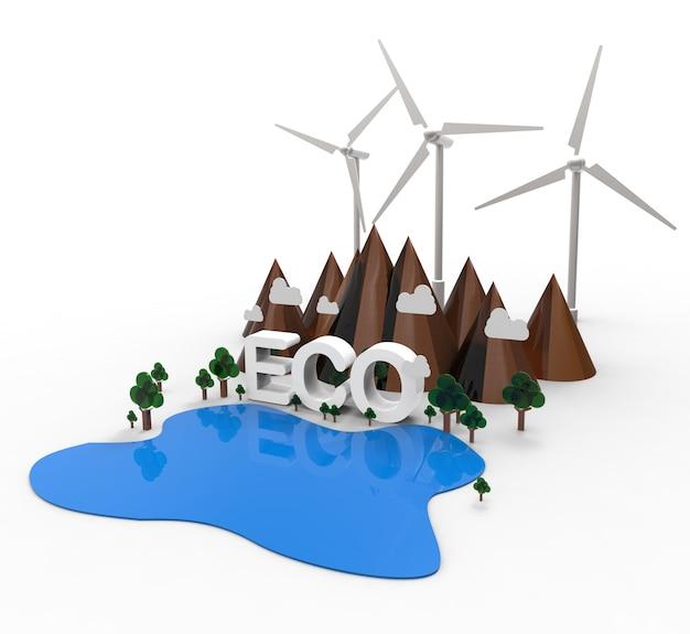 Eco paesaggio naturale, energia rinnovabile. illustrazione