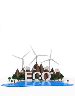 Eco paesaggio naturale, energia rinnovabile.