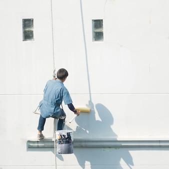 Edifici dipinti - lavorando su un edificio alto