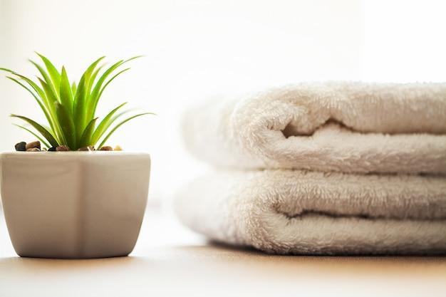 Edifici e architettura spa, asciugamani in cotone bianco uso nel bagno spa