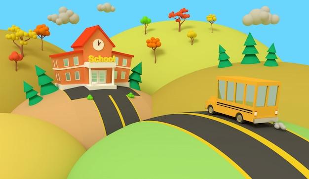 Edificio scolastico e autobus giallo con bellissimo paesaggio autunnale. di nuovo a scuola. illustrazione stile volumetrico. rendering 3d.