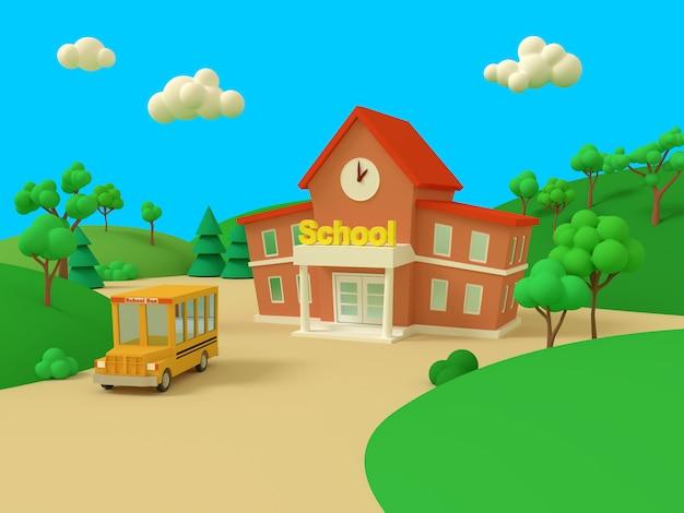 Edificio scolastico e autobus giallo con bellissimo paesaggio estivo verde, torna a scuola