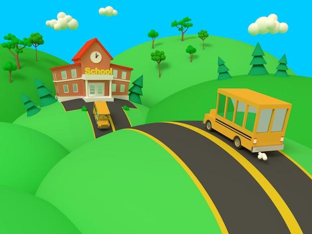 Edificio scolastico e autobus giallo con il bello paesaggio di estate verde