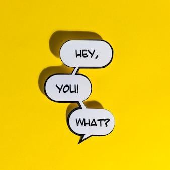 Ei, tu! che cosa? illustrazione vettoriale parole esclamativo