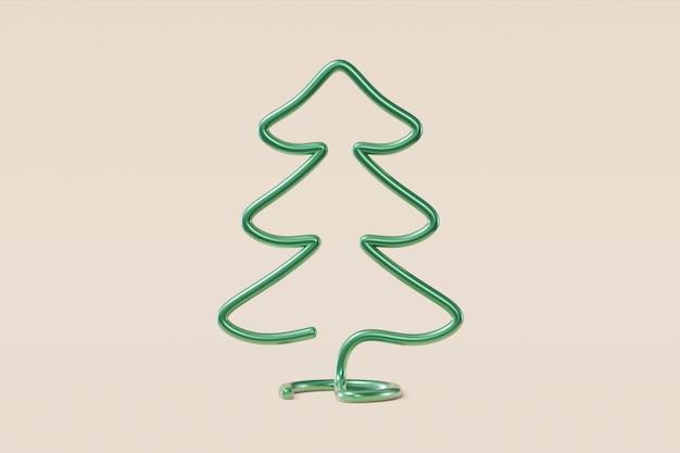 Elegante albero di natale fatto di filo metallico. pino dell'illustrazione di concetto su un fondo beige chiaro, cartolina d'auguri, congratulazione, invito. rendering 3d