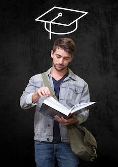 Elegante lettura toccante concentrato sofisticato
