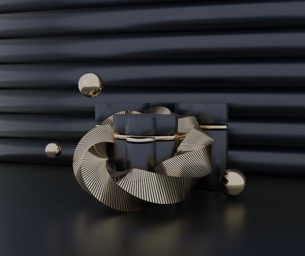 Elegante podio nero oro per esposizione