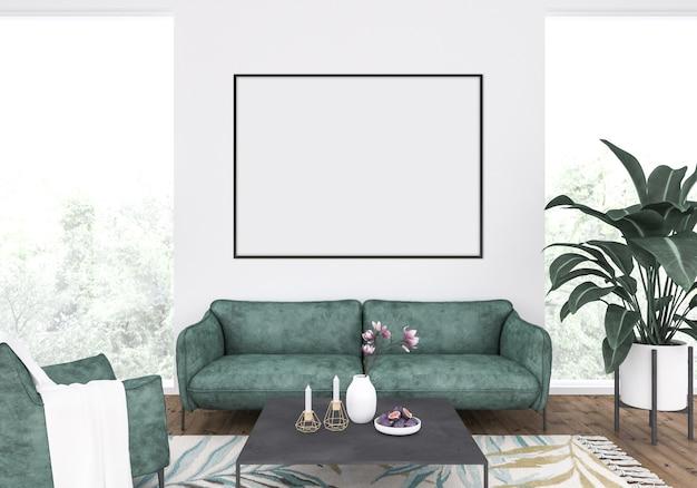 Elegante soggiorno con un divano verde, mockup telaio orizzontale, sfondo opera d'arte