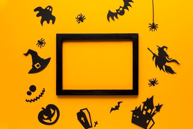 Elementi di festa di halloween su design piatto