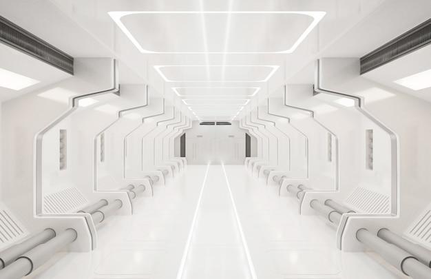 Elementi di rendering 3d di questa immagine fornita, interno bianco spaceship, tunnel, corridoio, corridoio