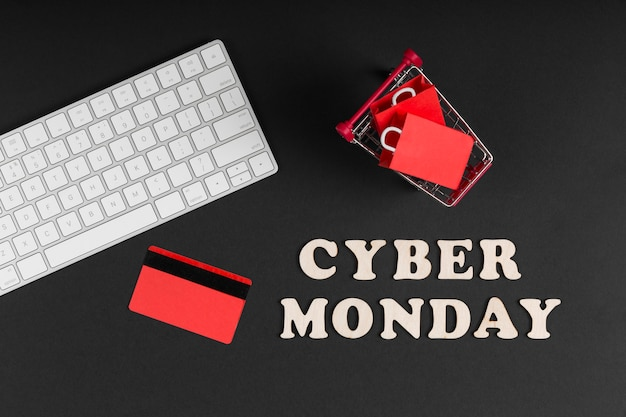 Elementi di vendita di cyber lunedì piatto laici