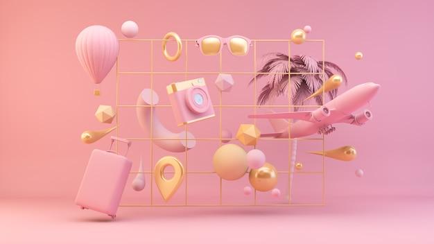 Elementi di viaggio rosa