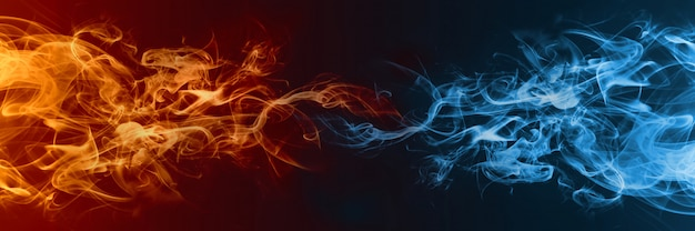 Elemento astratto di fuoco e ghiaccio