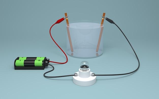 Elettrolisi 3d dell'acqua con batteria e lampadina.