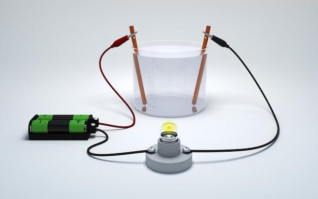 Elettrolisi dell'acqua con la batteria e la lampadina su bianco