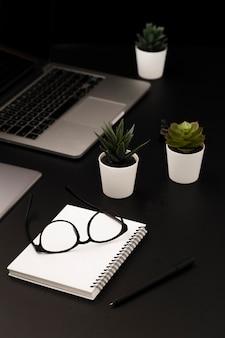 Elevato angolo di area di lavoro con piante grasse e notebook