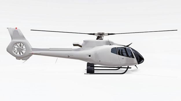 Elicottero bianco isolato su sfondo bianco. rendering 3d.