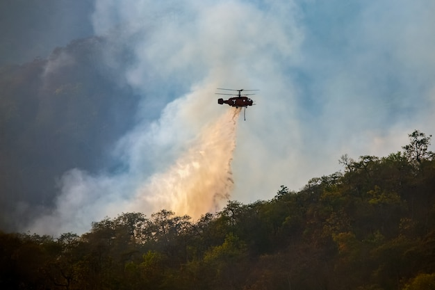 Elicottero che scarica acqua sull'incendio forestale