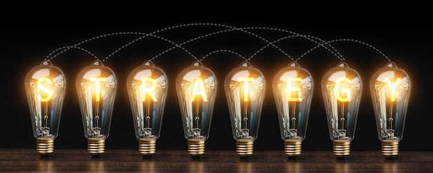 Energia di idea di successo, di strategia e di innovazione di affari con la linea di collegamento della lampadina sulla tavola di legno nel tono scuro, tecnologia creativa riuscita e concetto di invenzione