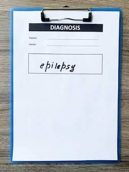 Epilessia di diagnosi in forma medica sulla scrivania del medico.