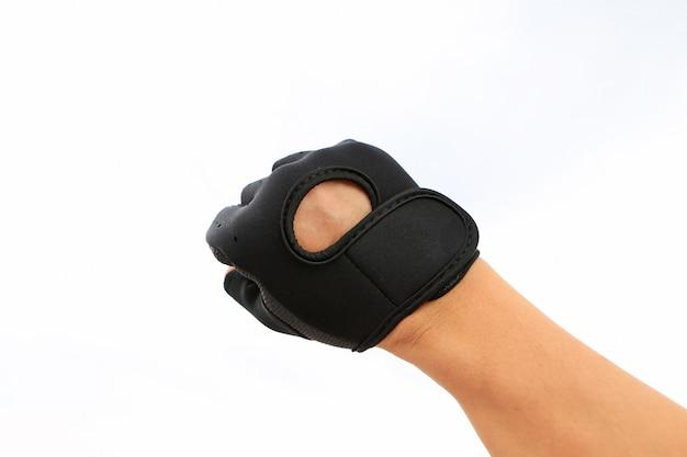 Equipaggi i guanti sportivi da portare isolati su priorità bassa bianca