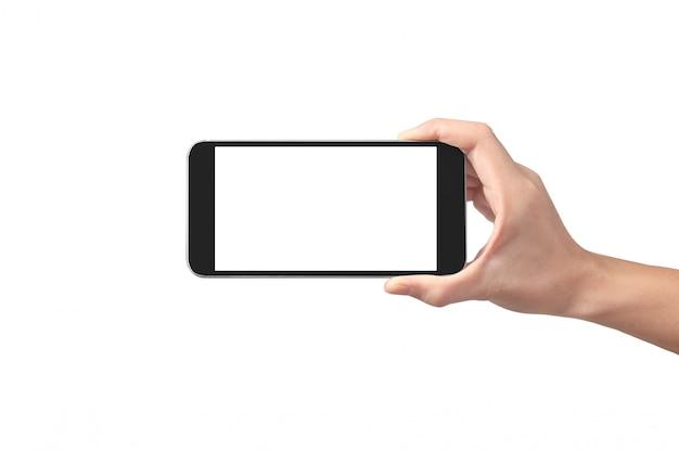 Equipaggi il dispositivo dello smartphone della tenuta della mano e lo schermo commovente