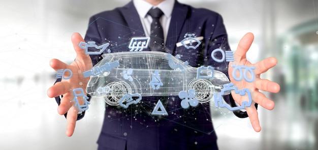 Equipaggi il iconround della smartcar della tenuta una rappresentazione dell'automobile 3d