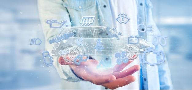 Equipaggi l'icona di smartcar della tenuta intorno ad un'automobile