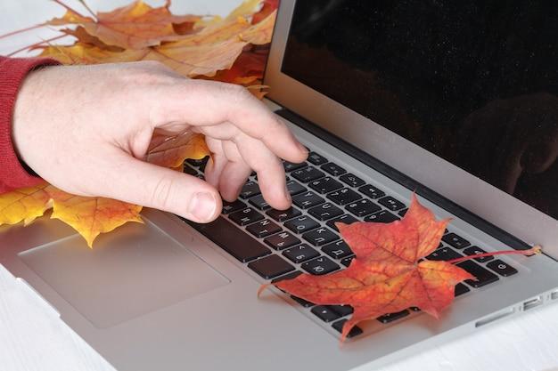 Equipaggi la mano sulla tastiera del computer portatile con il monitor dello schermo in bianco