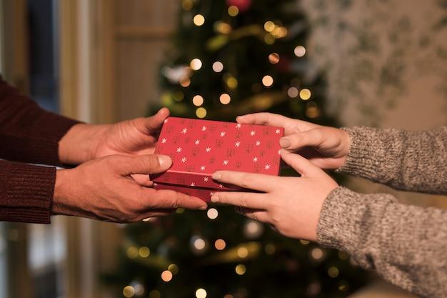 Equipaggi la presentazione del contenitore di regalo alla donna vicino all'albero di natale