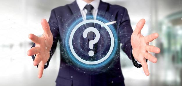 Equipaggi la tenuta dell'icona del punto interrogativo di tecnologia oncircle