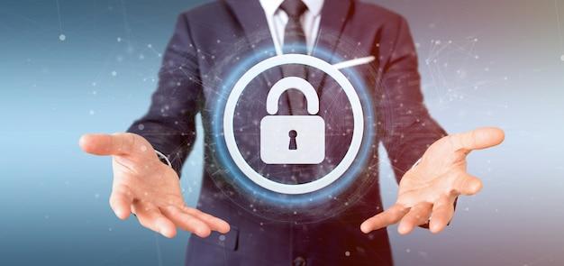 Equipaggi la tenuta della rappresentazione di concetto 3d di sicurezza di web del lucchetto