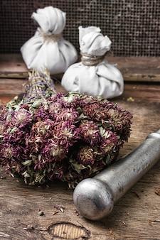 Erbe curative del legamento del fascio medicina tradizionale e pestello di ferro.