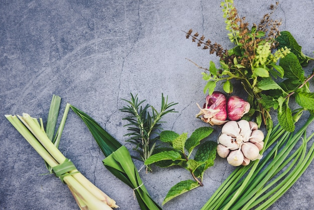 Erbe e spezia fresche naturali sulla banda nera nella cucina per l'alimento dell'ingrediente - concetto del giardino di erbe della cucina