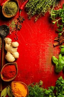 Erbe e spezie su bakground rosso