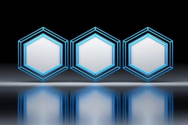 Esagoni con wireframe blu