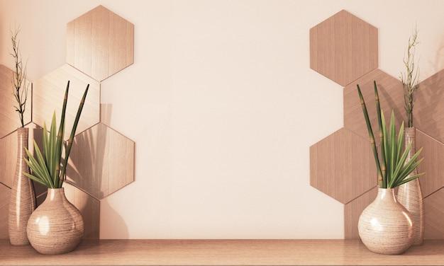 Esagono piastrelle in legno e legno decorazione vaso sul pavimento in legno tono terra. rendering 3d