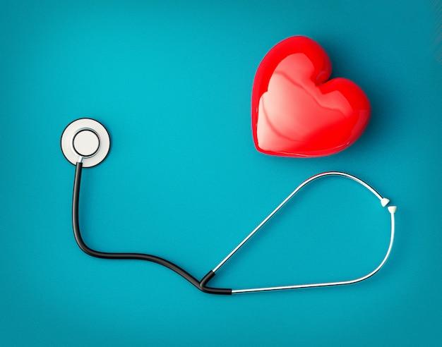Esame sanitario con cuore rosso e concetto di assistenza sanitaria stetoscopio.