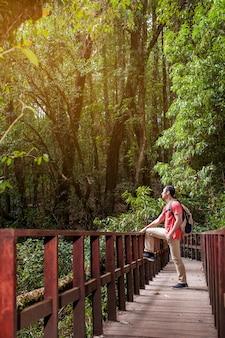 Escursionista guardando sopra su un vecchio ponte